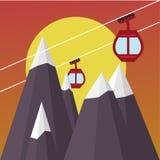 Гондола подъема лыжи иллюстрация вектора