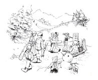 Гондола лыжи в чертеже шаржа снега зимы Стоковое Изображение RF