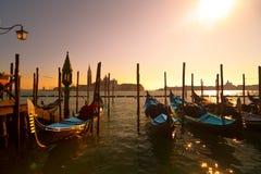 Гондолы в лагуне Венеции, причаленной квадратом St Mark Стоковая Фотография