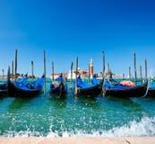 Гондолы в Венеции на грандиозном канале Стоковая Фотография RF