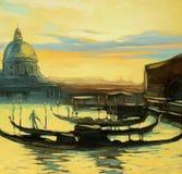 гондолы к Венеции, крася Стоковая Фотография RF