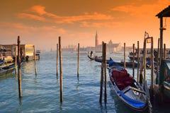 Гондолы на заходе солнца, Венеция Стоковая Фотография RF
