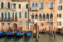 Гондолы на канале большом - Венеция Стоковое Изображение