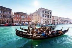 Гондолы на канале, Венеции Стоковая Фотография
