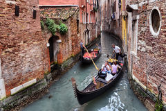 Гондолы на канале в Венеции, Стоковые Фотографии RF