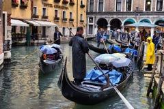 Гондолы на канале в Венеции, Стоковое Изображение RF