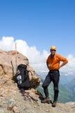 гора альпиниста счастливая Стоковые Фотографии RF