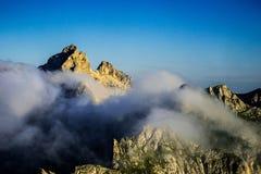 Гора в тумане утра Стоковые Фотографии RF