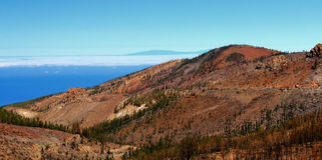 Гора, голубое небо, красивый вид, Тенерифе Стоковое Изображение RF