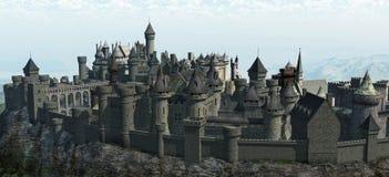 гора замока средневековая Стоковые Изображения RF