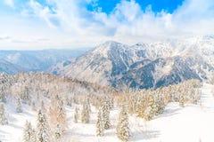 Гора зимы Японии при покрытый снег Стоковое Изображение