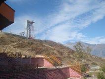 Гора Индии Uttarakhand гималайская cum взгляд ropeway кабеля стоковая фотография rf
