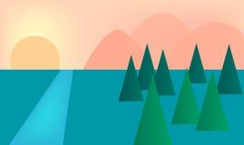 Гора и естественный вектор взгляда Стоковая Фотография RF