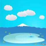 Гора и озеро на облачном небе, иллюстрация Стоковые Фото