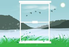 Гора ландшафта вне дизайна интерьера зеркала плоского показывая g иллюстрация штока
