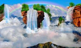 Гора летания с водопадом перевод 3d иллюстрация вектора
