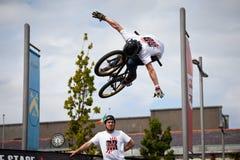 гора мальчика bmx bike скача Стоковые Изображения RF