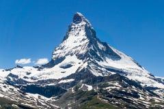 Гора Маттерхорна, и голубое небо в лете, zermatt, switzerla Стоковое Изображение