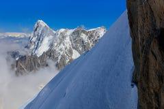 Гора Монблана, взгляд от Aiguille du Midi Франция Стоковое Изображение