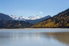 Гора озера и снега Стоковое Изображение