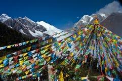 Гора снежка и знамя Тибета Стоковая Фотография