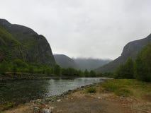 Гора тумана реки природы стоковые изображения