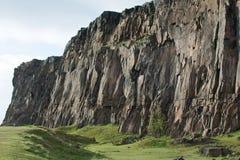 Гора утеса с зеленым полем Стоковые Изображения RF