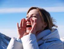 гора девушки Стоковое Фото