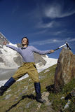гора 3 альпинистов excited Стоковые Фото