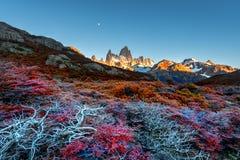 Гора Fitz Роя около El Chalten, в южной Патагонии, на границе между Аргентиной и Чили Взгляд рассвета от следа Стоковые Фотографии RF