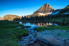 Гора Reynolds в зоне пропуска Logan национального парка ледника, Монтаны Стоковая Фотография