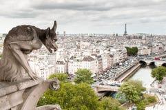 Горгулья химеры собора Парижа Нотр-Дам Стоковая Фотография RF