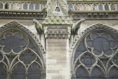 Горгульи на экстерьере собора Нотр-Дам, Парижа, Франции Стоковые Фотографии RF