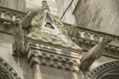 Горгульи на экстерьере собора Нотр-Дам, Парижа, Франции Стоковое фото RF