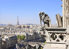 Горгулья обозревая Париж вверх на Нотр-Дам de Париже, Франции Стоковые Изображения RF