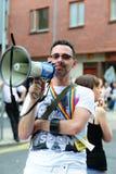 гордость парада мегафона человека lgbt dublin Стоковая Фотография RF