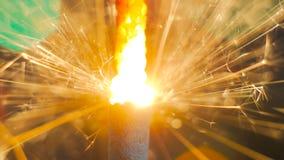 Горение бенгальского огня фейерверка Стоковые Изображения