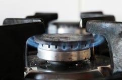 Горение газовой плиты кухни стоковые фотографии rf