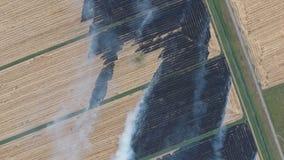 Горение соломы риса в полях Курите от горения соломы риса в проверках Пожар на поле стоковая фотография rf