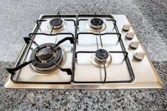 Горелки на газовой плите в кухне Стоковое Изображение