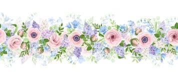 Горизонтальная безшовная гирлянда с цветками пинка, голубых и пурпурных r стоковое фото rf