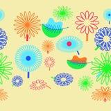 Горизонтальная безшовная картина флористического мотива, цветки, листья, делает стоковое фото