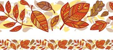 Горизонтальная безшовная предпосылка с листьями осени Стоковые Изображения