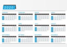 Горизонтальная конструкция 2020 офиса календаря года Иллюстрация вектора