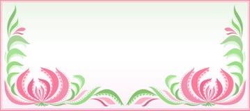 Горизонтальная предпосылка с цветочным узором в пинке и зеленом цвете Стоковое Фото