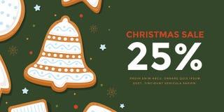 Горизонтальная продажа рождества знамени с колоколом пряника в поливе Стоковое Фото