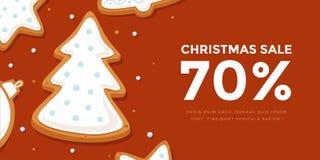 Горизонтальная продажа рождества знамени с рождественской елкой пряника в поливе Стоковая Фотография