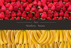 Горизонтальное знамя много зрелых пука и strawberrys банана Концепция здоровой еды Стоковое фото RF