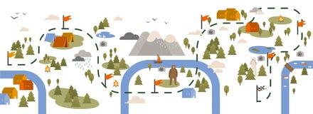 Горизонтальное знамя при карта следа, пешая трасса или тропа украшенные с touristic областями, располагаясь лагерем положения и иллюстрация вектора