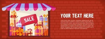 Горизонтальное знамя со светящей внешней витриной магазина в красной кирпичной стене с текстурами Продажа подарочных коробок внут бесплатная иллюстрация